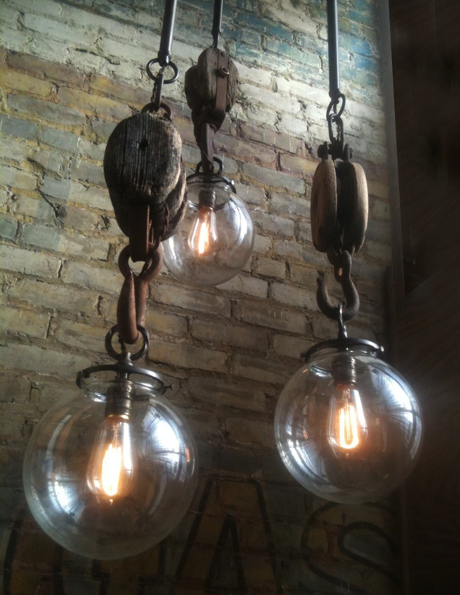 Industrial Pulley Pendant Light Fixtures